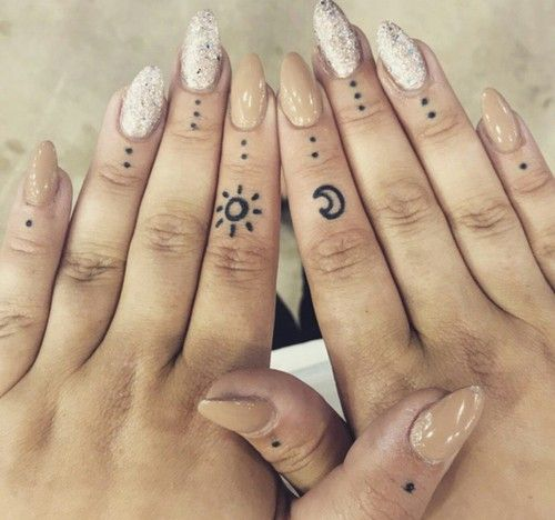 bfab12c81 cute small sun and moon finger tattoo #Ink #YouQueen #girly #tattoos  #placement