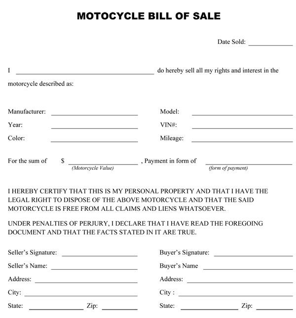 Printable Sample Bill Of Sale Alabama Form – Motorcycle Bill of Sales