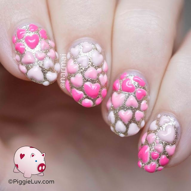 3d Hearts Nail Art For Valentines Day Heart Beat Nail Heart And