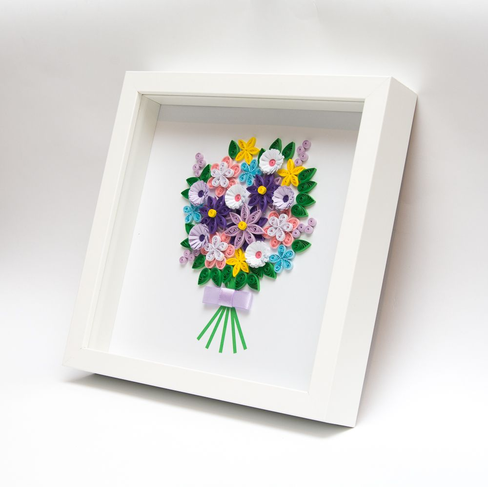 Unusual Framed Paper Art Quilling Quilled Flowers 3D Wall Art Unique Home  Decor Modern Elegant Delicate