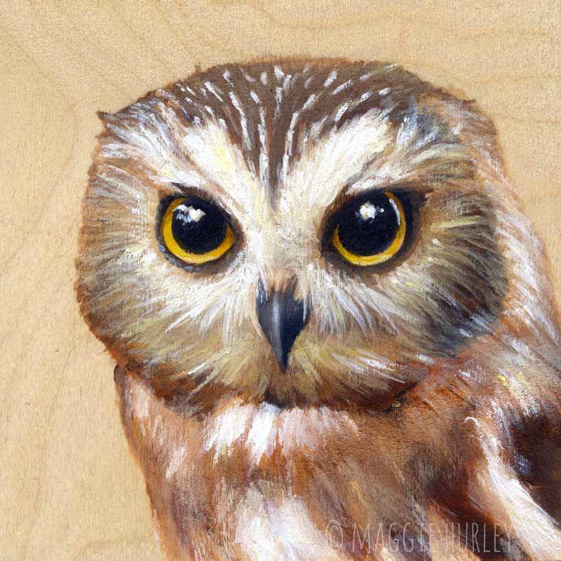 Owl Archival Print on Wood