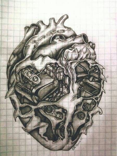 Motor in a heart tattoo for donnie tattoo inspiration for Car motor tattoos
