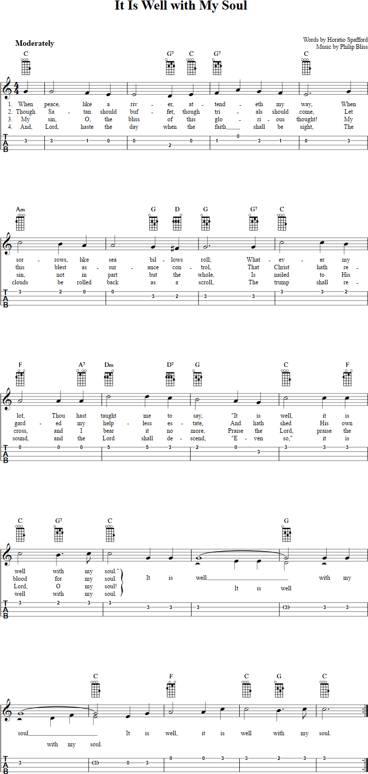 It is well with my soul ukulele tab music pinterest ukulele free mandolin sheet music for it is well with my soul with chord diagrams lyrics and tablature this music will also work on tenor banjo in gdae tuning hexwebz Images