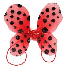 red with black polka dots baby butterfly wings  black