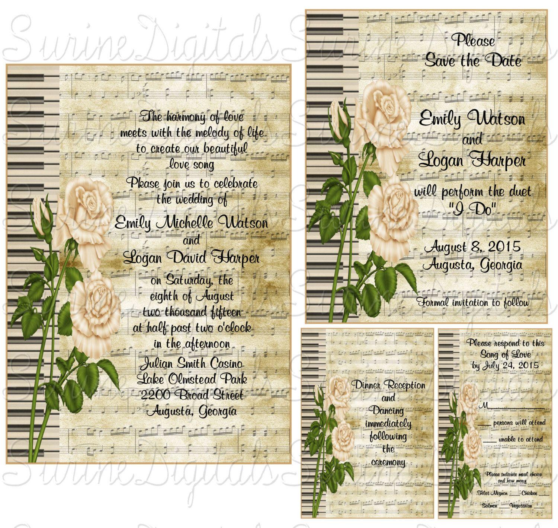 Roses and Piano Keys Wedding Invitation Set, Musical Themed wedding ...