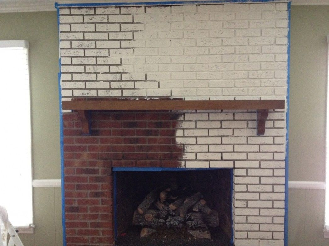 Interior Paint Brick Wall Fireplace Panels Before And After With ...