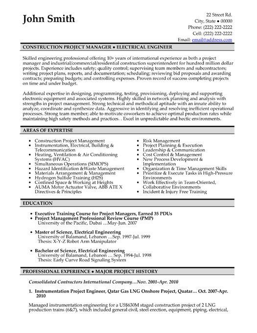 image result for construction supervisor resume pdf