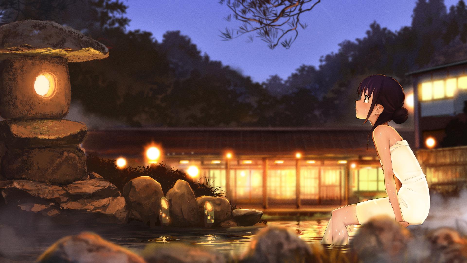 Anime Wallpaper 1920x1080 Anime Girls Hot Spring Girls In 2019