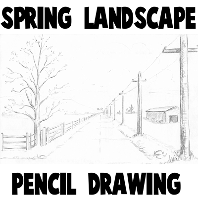 How To Draw Spring Landscape Scene In One Point Perspective Drawing Tutorial How To Draw Step By Step Drawing Tutorials Perspective Drawing Perspective Drawing Lessons Landscape Drawing For Kids