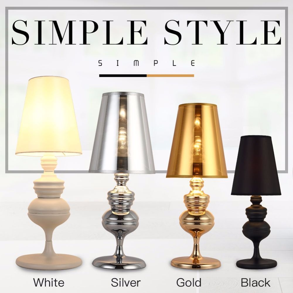 Modern Table Lamp For Bedroom Living Room Desk Lamp Office Reading Light  Shade Push Button Switch