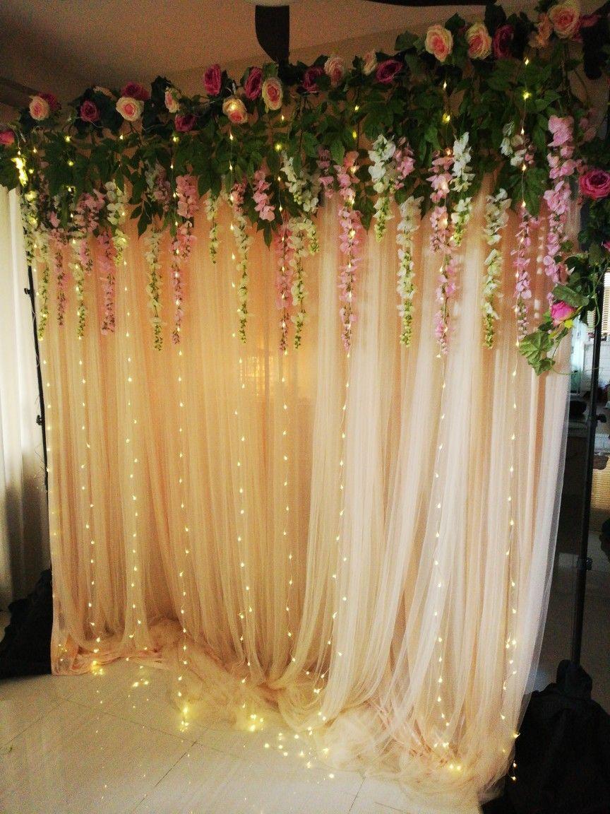 Fairy lights flowers garden backdrop in 2020 Fairy