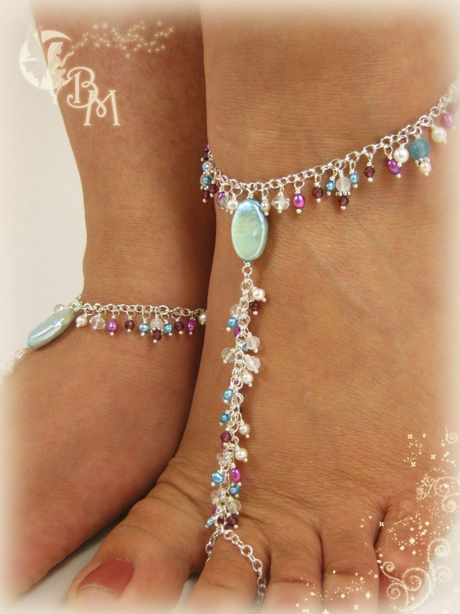 Moonstone, Garnet and Pearl Beaded Barefoot Sandal. $210.00, via Etsy.  Soooooooo cute!