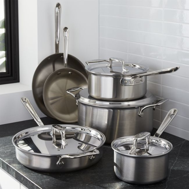 All Clad D5 10 Piece Cookware Set With Bonus Crate And Barrel 899 00 Cookware Set Induction Cookware Cookware Sets All clad d5 brushed stainless steel 10 piece set