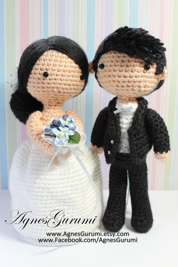 Free Amigurumi Wedding Couple Pattern : Amigurumi crochet wedding couple white gown black suit