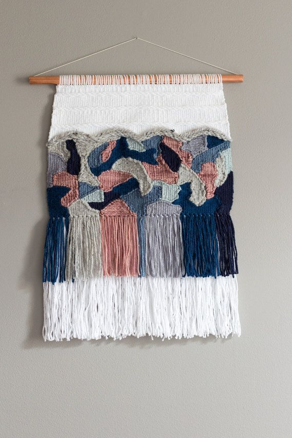 Woven Wall Hanging Modern Tapestry Collage Of Blues Etsy Woven Wall Hanging Wool Wall Hanging Weaving Wall Hanging
