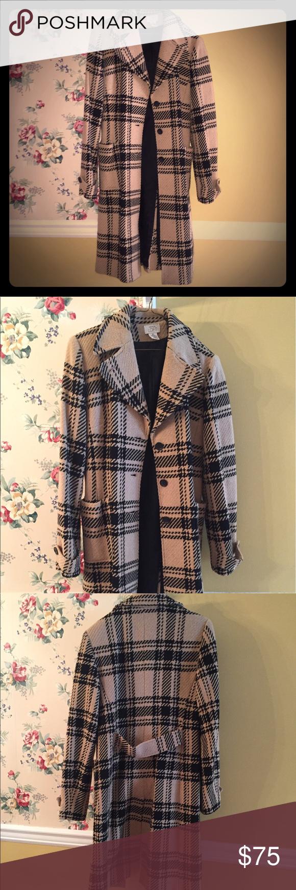 31530f378b7 Ann Taylor Loft coat Ann Taylor Loft wool coat. Tan and black plaid. Size