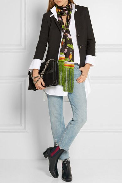 GUcci, $445, Multicolored silk-twill Fabric1: 100% silk; fabric2: 100% viscose Dry clean Made in Italy, 306 cm x 10 cm