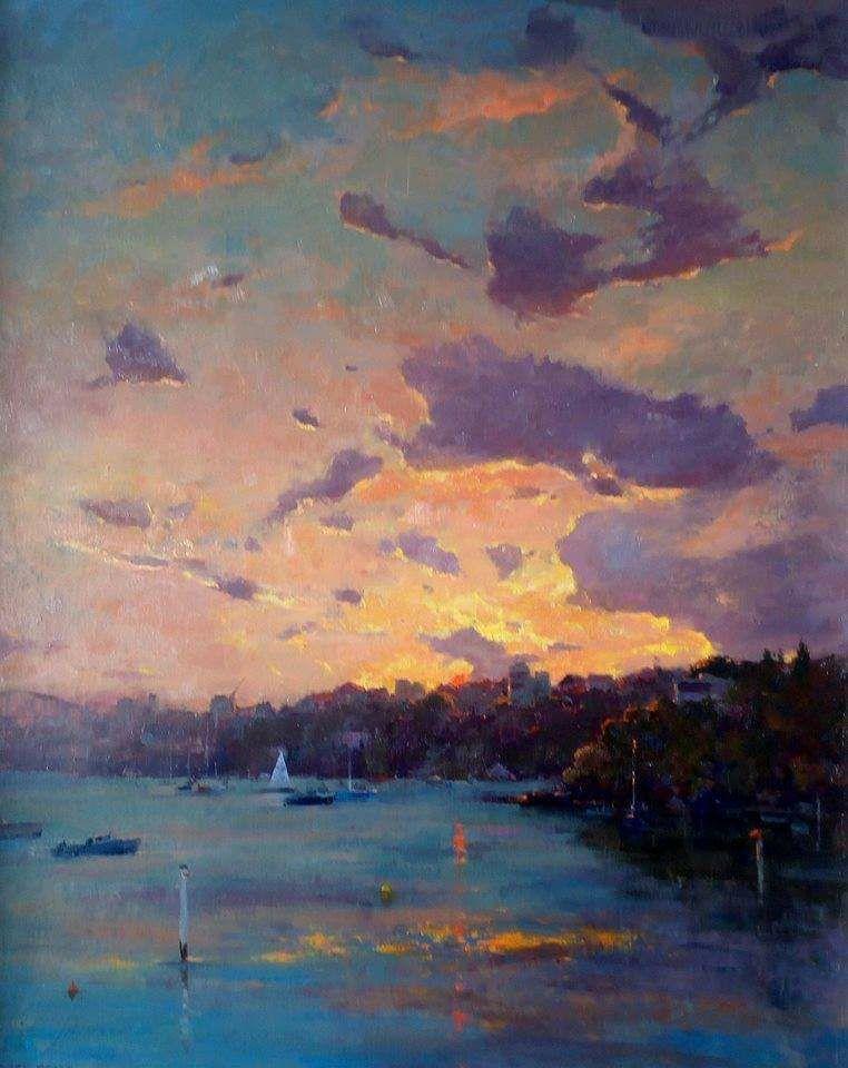 Beautiful Evening Seascape Scenery Paintings Landscape Seascape