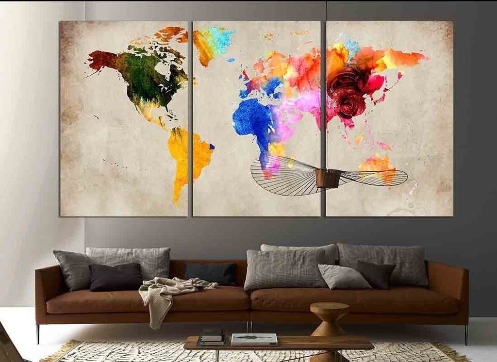 Colorful world map 870 canvas print canvas print zellart canvas colorful world map 870 canvas print gumiabroncs Gallery