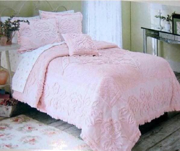 Vintage Shabby Chic Pillow Shams : Rachel ashwell white roses chenille comforter ruffles pillow sham shabby chic treasures ...