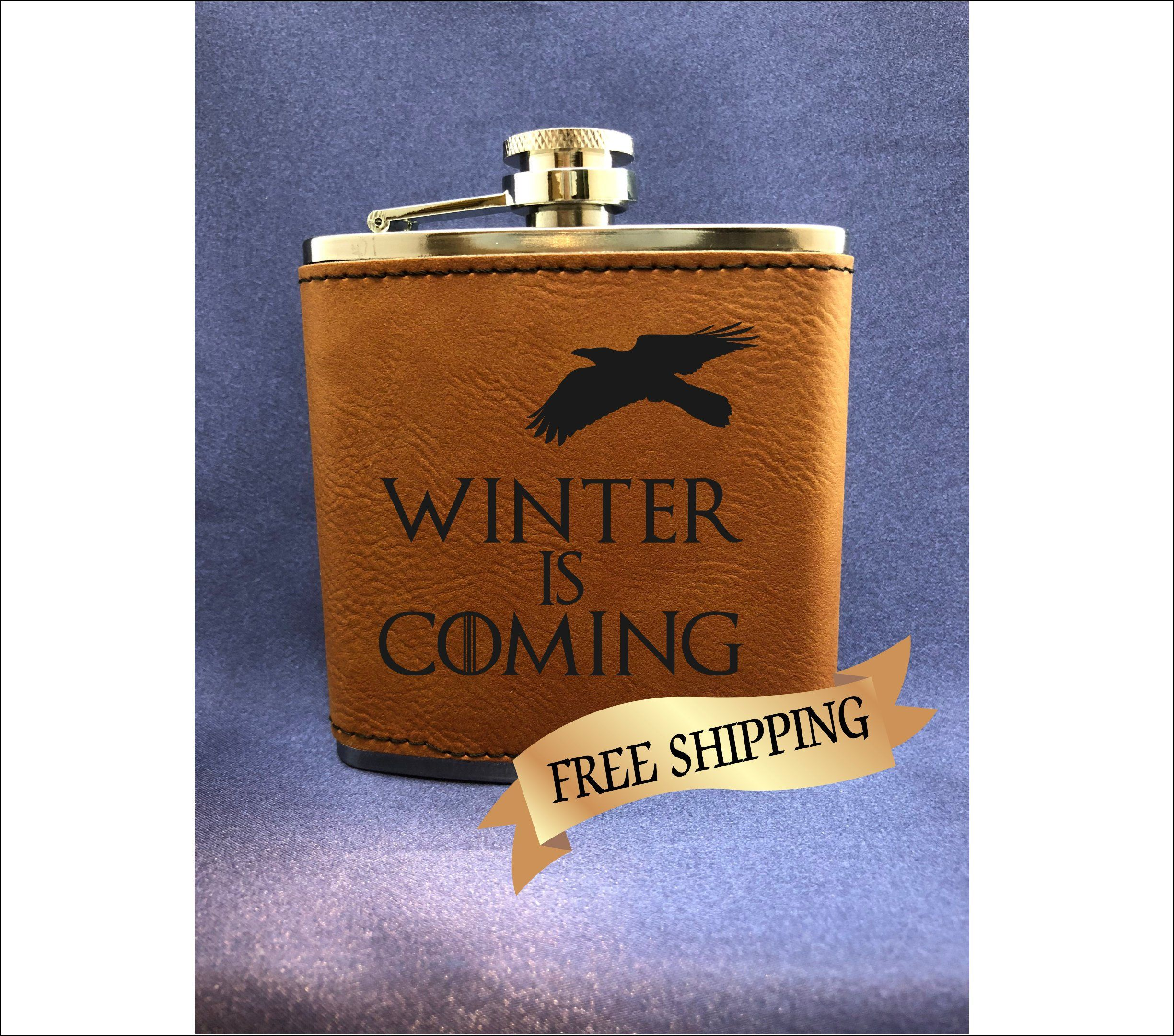 Game of thrones engraved flask whiskey lover gift