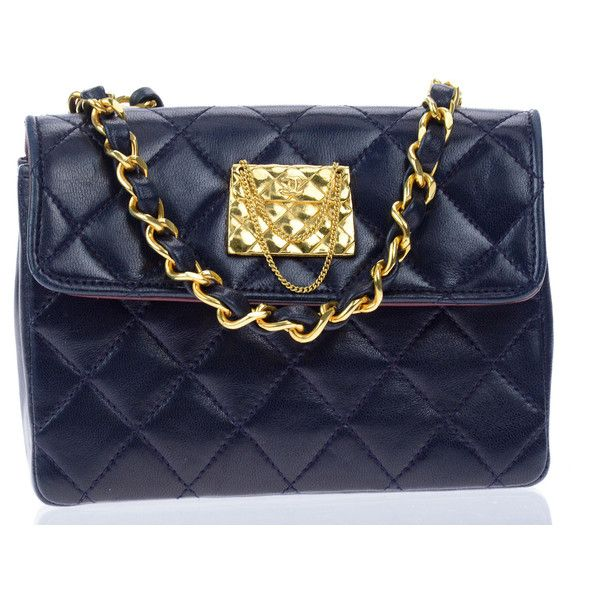 Pre-owned Chanel Vintage Navy Blue Lambskin Leather Mini Crossbody ... 18ed3268d78c5