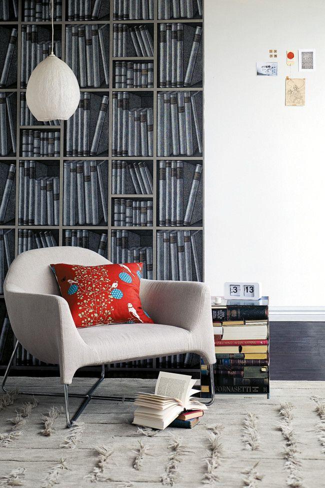 Pan de mur en papier peint biblioth que point trop n 39 en faut pour obtenir un effet maximal - Point trop n en faut ...