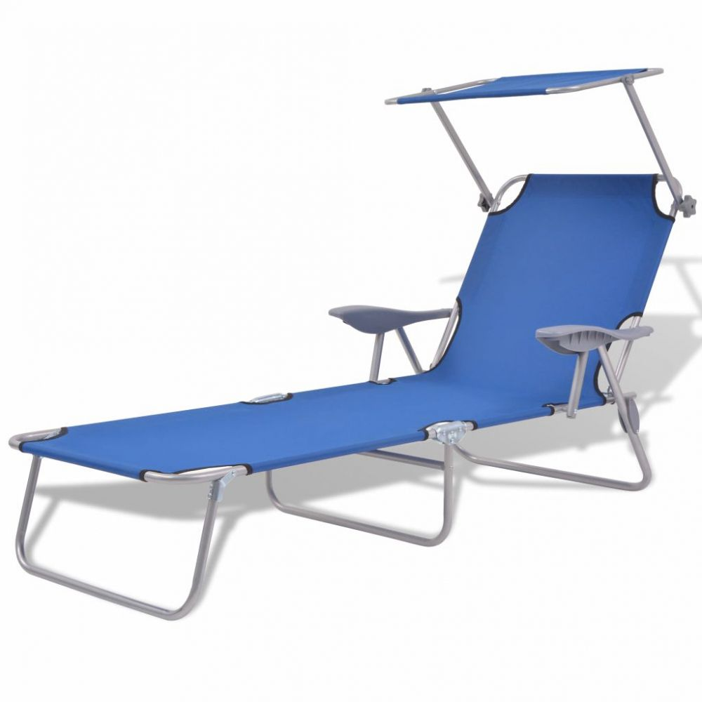 Patio Sun Lounger With Armrests And Canopy Outdoor Garden Blue H4home Furnitures Sun Lounger Lounger Outdoor Seat