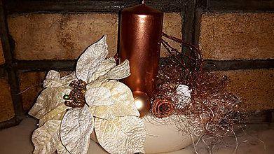 Dekorácie - Vianočný svietnik Medené  Vianoce - 6081863_