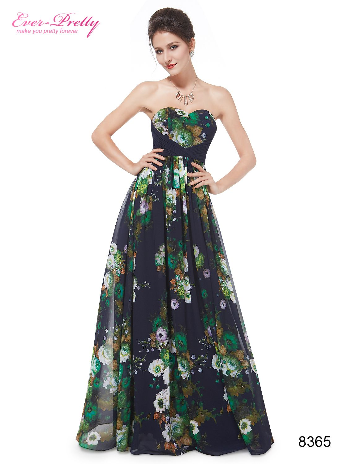 Ever pretty womens strapless sweetheart neckline printed long party