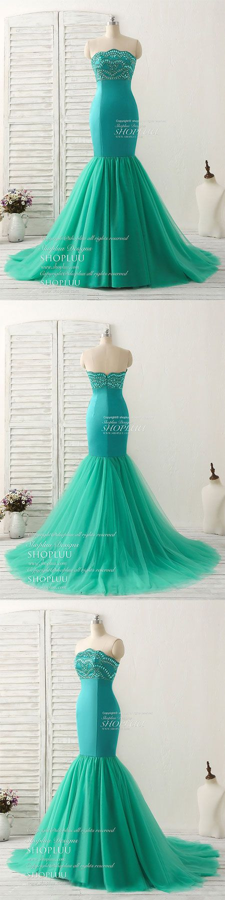 Green tulle mermaid long prom dress green evening dress green