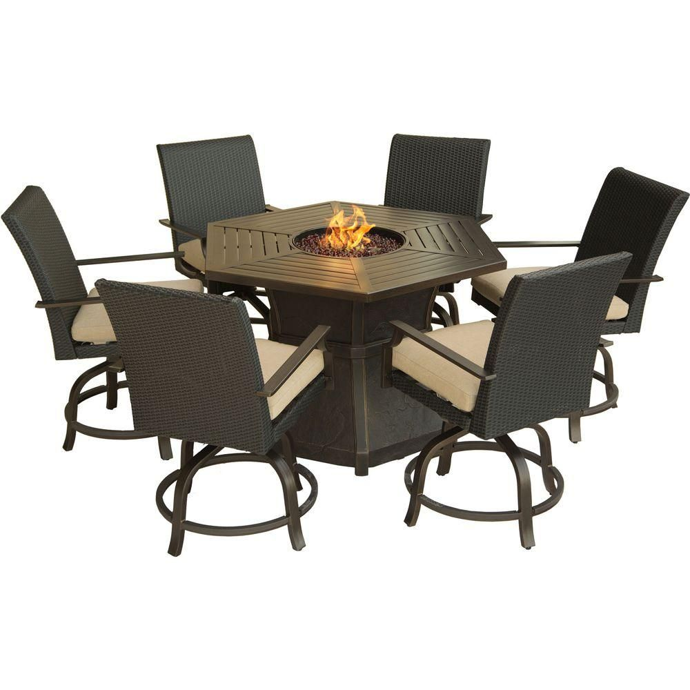 Hanover Aspen Creek 7 Piece Patio Fire Pit Dining Set With Natural Oat Cushions Aspencrk7pcfp The Home Depot Bar Height Furniture