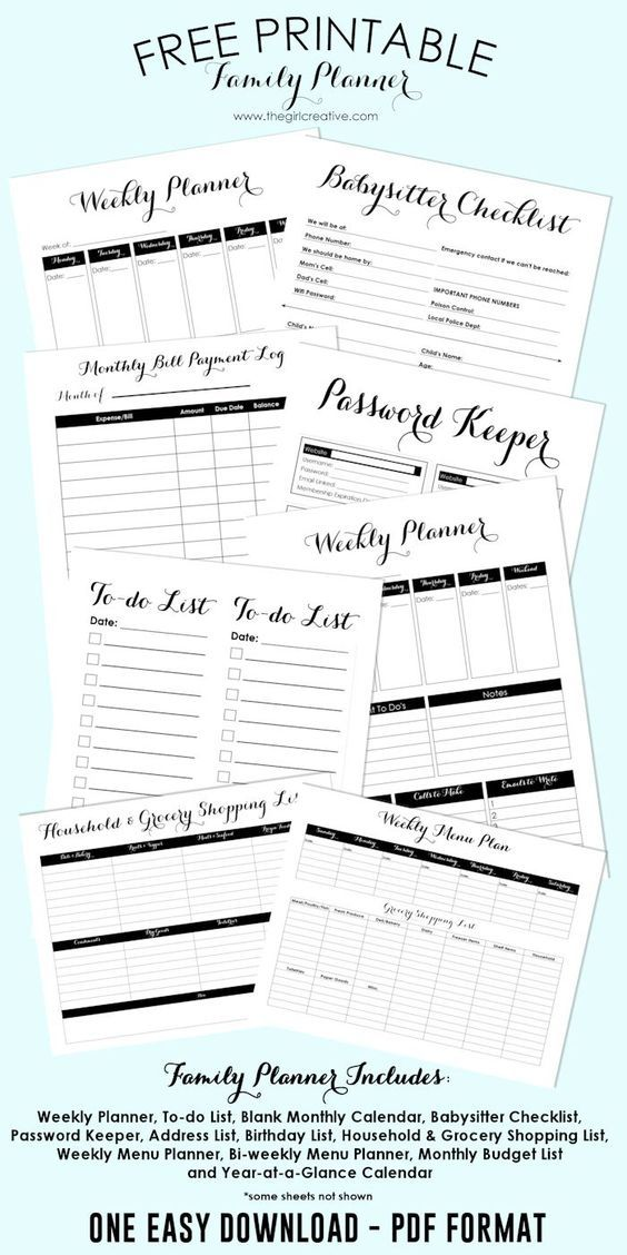 Free Printable Family Planner Blank calendar template, Password