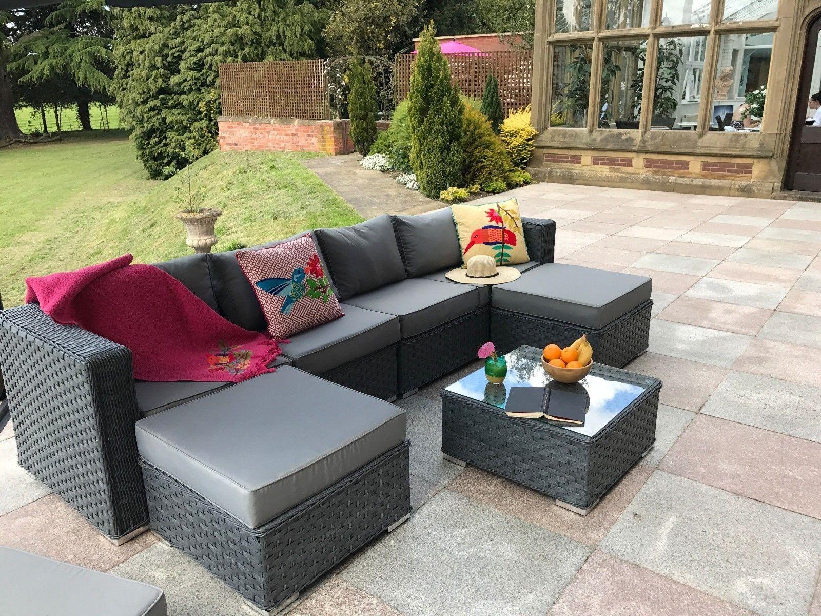 6ba96380cde1 £395 Yakoe® Papaver 6 Seater Black Garden Furniture | Furniture Maxi