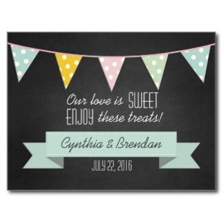 Chalkboard Bunting Wedding Dessert Table Candy bar Postcard