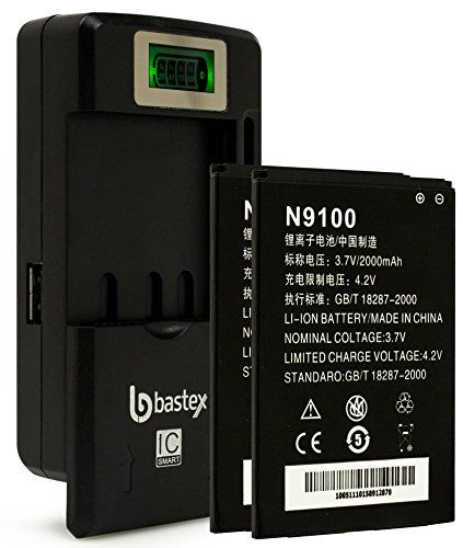 Two (2pk) Bastex Replacement Battery For N9100 RADIANT, Z740, Z955, Z730, ZTE CONCORD 2 plus One (1) Bastex External Dock LCD Battery Charger