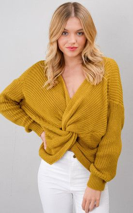 0031ec0ec9d47c Twist Knot Front Knitted Jumper Mustard Yellow