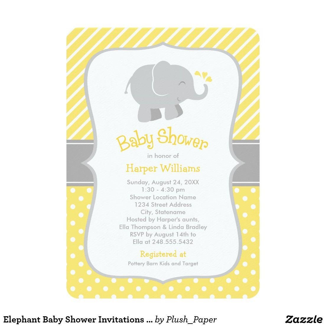 baby shower invitations yellow and gray elephant baby gray
