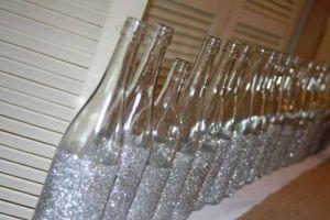 Silver Glitter Wine Bottles