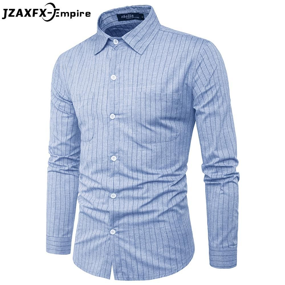 ded0607824 Men Shirts Stripes Overshirt Long Sleeve Slim Fit Tops with Two Pockets  Button Front
