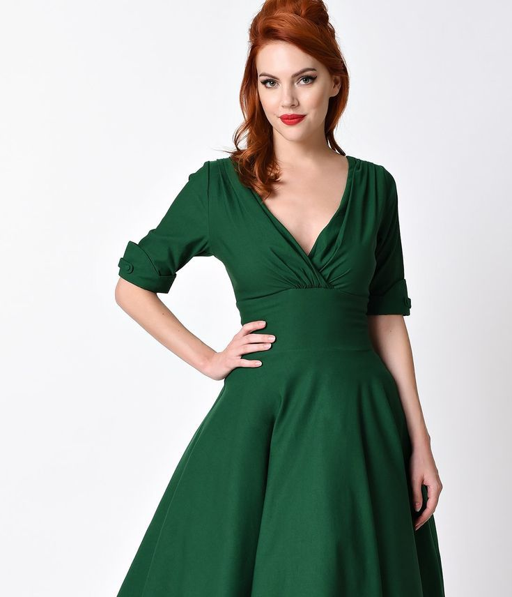 5c70c1cb12b2 Unique Vintage 1950s Emerald Green Delores Swing Dress with Sleeves