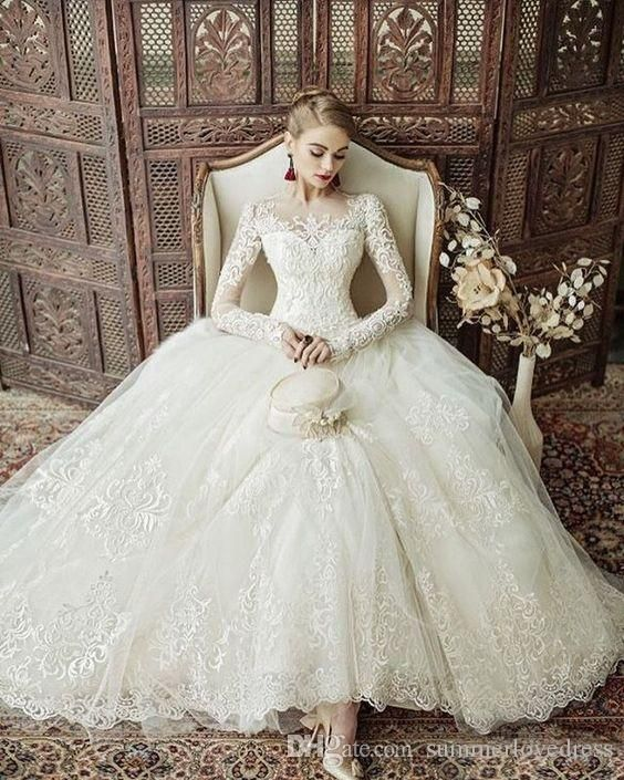 2017 New Luxury Illusion Long Sleeves Lace Ball Gown ...