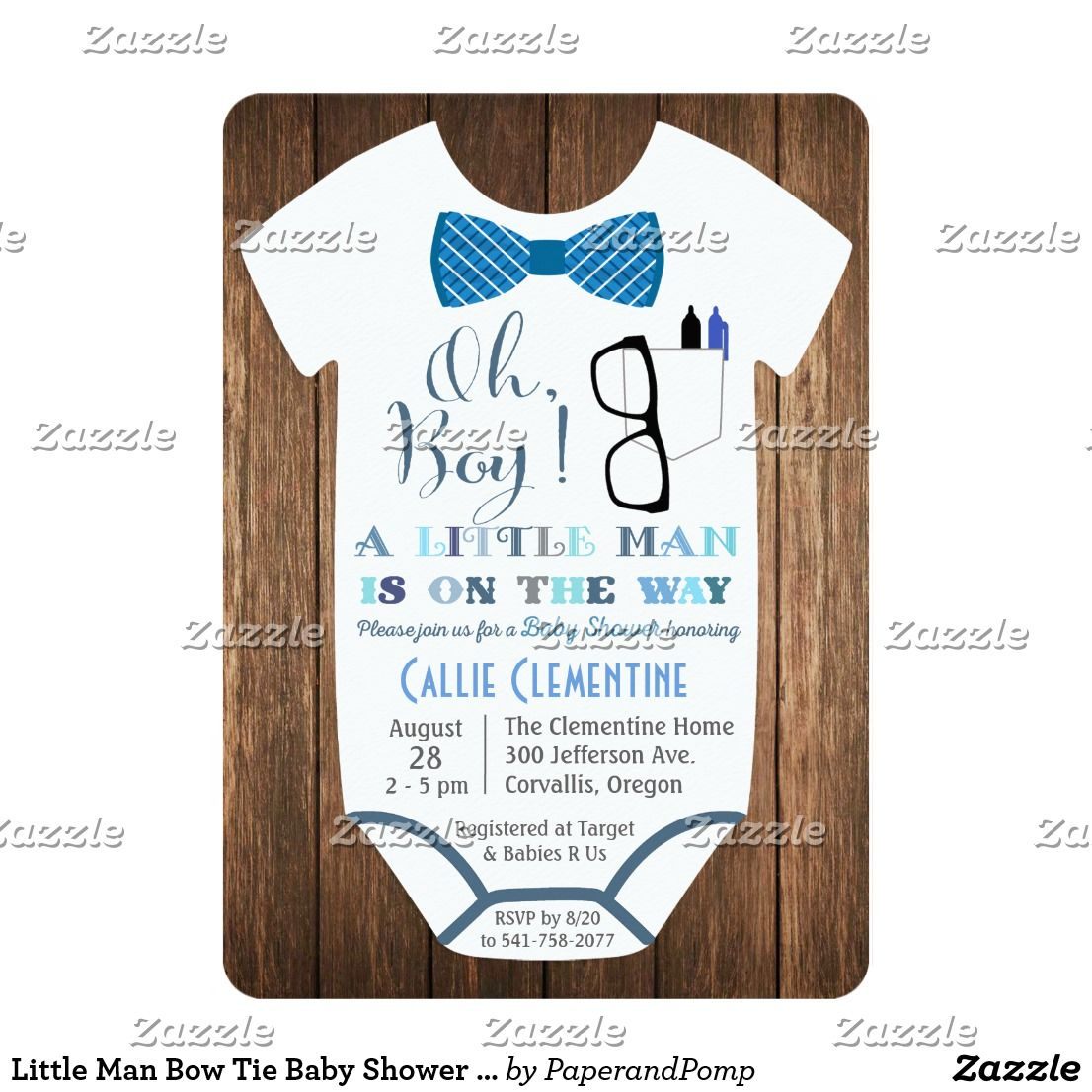 Little Man Bow Tie Baby Shower Invitation | Shower invitations