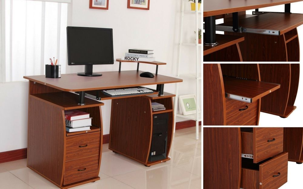 Writing Computer Table Home Office Wooden Desk Storage Shelves Drawers Furniture