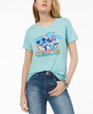 9691d7ac35382b Hybrid Juniors' Disney Mickey & Minnie Mouse Graphic T-Shirt - Green ...