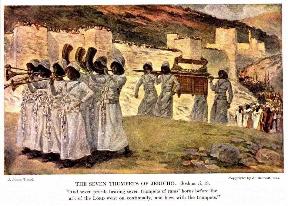 Josué 6:4-5 Y siete sacerdotes llevarán siete bocinas de cuernos de carnero delante del arca; y al séptimo día daréis siete vueltas a la ciudad, y los sacerdotes tocarán las bocinas.  Y cuando toquen prolongadamente el cuerno de carnero, así que oigáis el sonido de la bocina, todo el pueblo gritará a gran voz, y el muro de la ciudad caerá; entonces subirá el pueblo, cada uno derecho hacia adelante. ♔