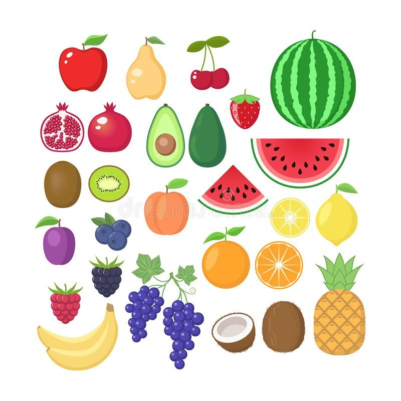 Various Fruit Collection Vector Fruits Cartoons Set Fruit Clipart Royalty Free Illustration Fruit Cartoon Fruit Clipart Cartoon Clip Art