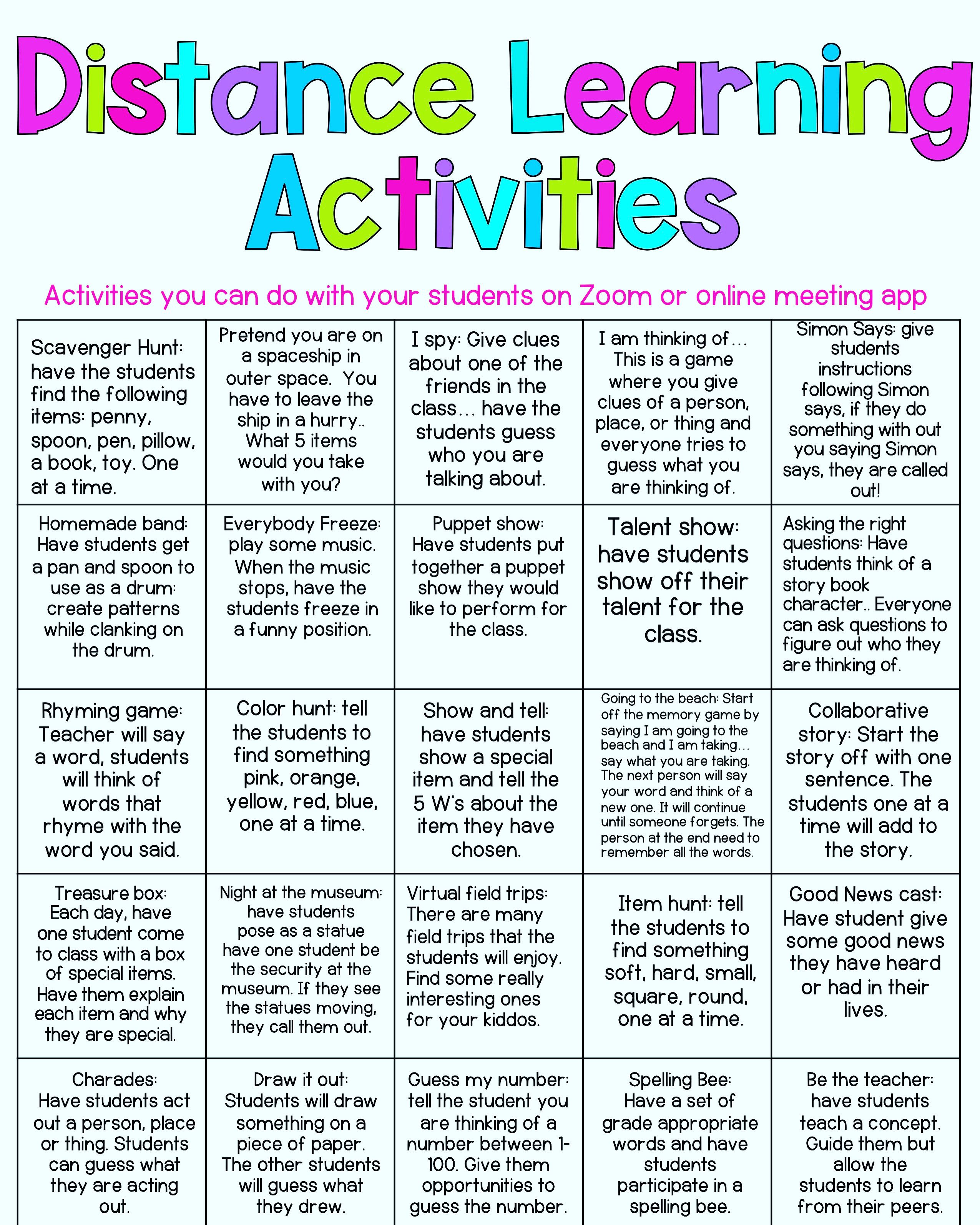 Distance Learning Activity Mat
