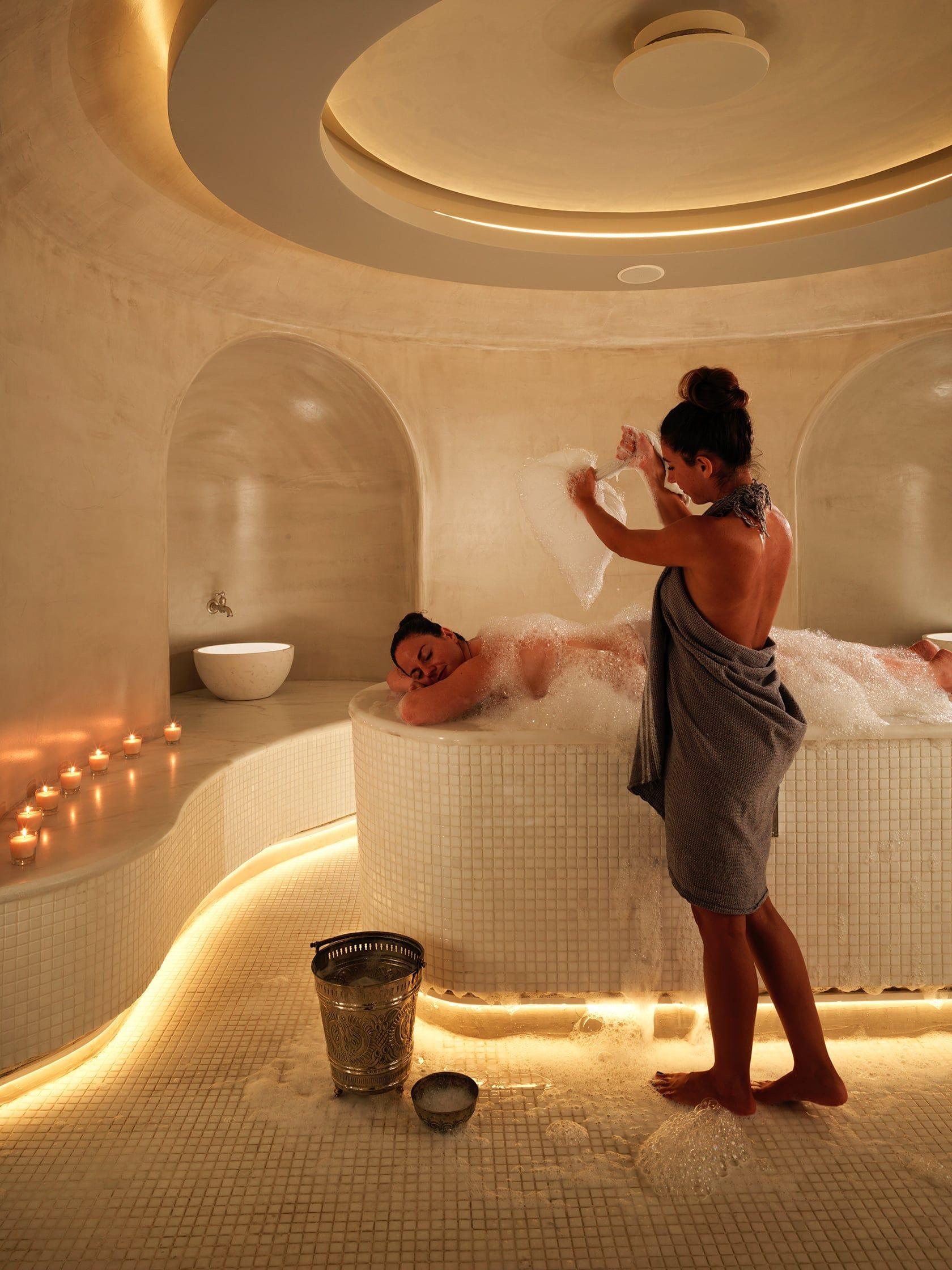 Luxury Spa Turkish Hammam In Mykonos Mykonos Riviera Luxury Hotel Luxury Spa Design Luxury Spa Treatment Spa Interior Design