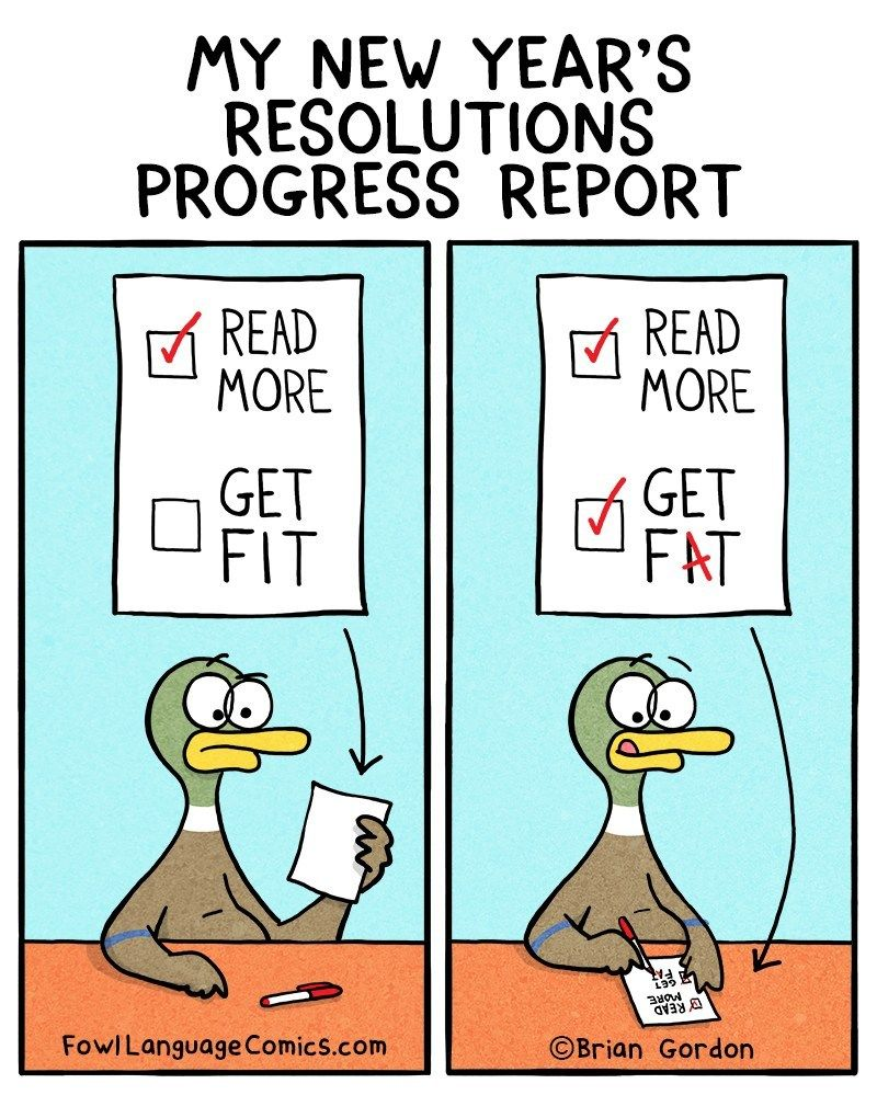 Resolution Progress Report New year jokes, Fowl language